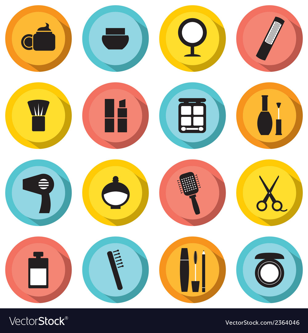 Flat design colorful cosmetics icons vector | Price: 1 Credit (USD $1)