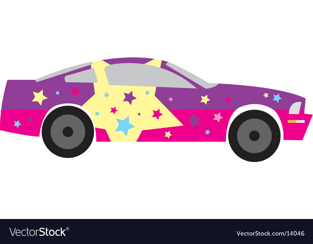 Girly star race car vector | Price: 1 Credit (USD $1)