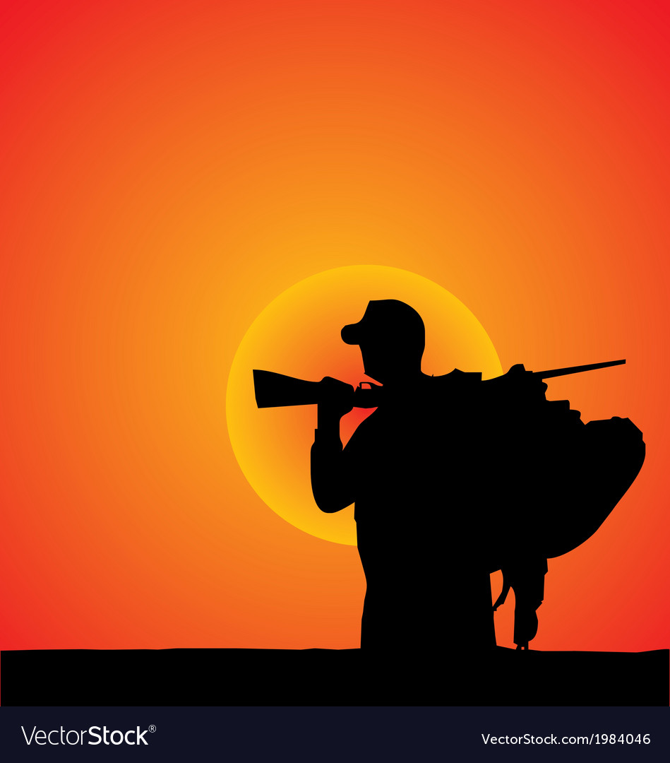 Hunter silhouette vector | Price: 1 Credit (USD $1)