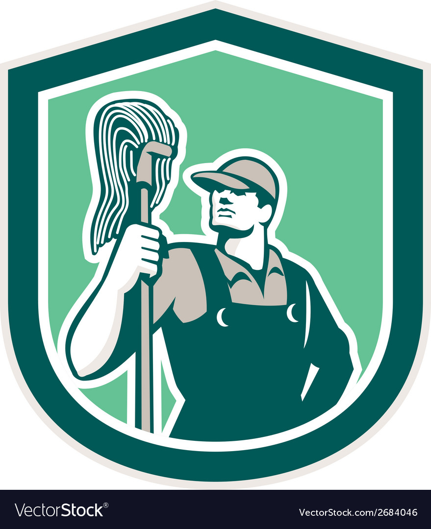Janitor cleaner holding mop shield retro vector