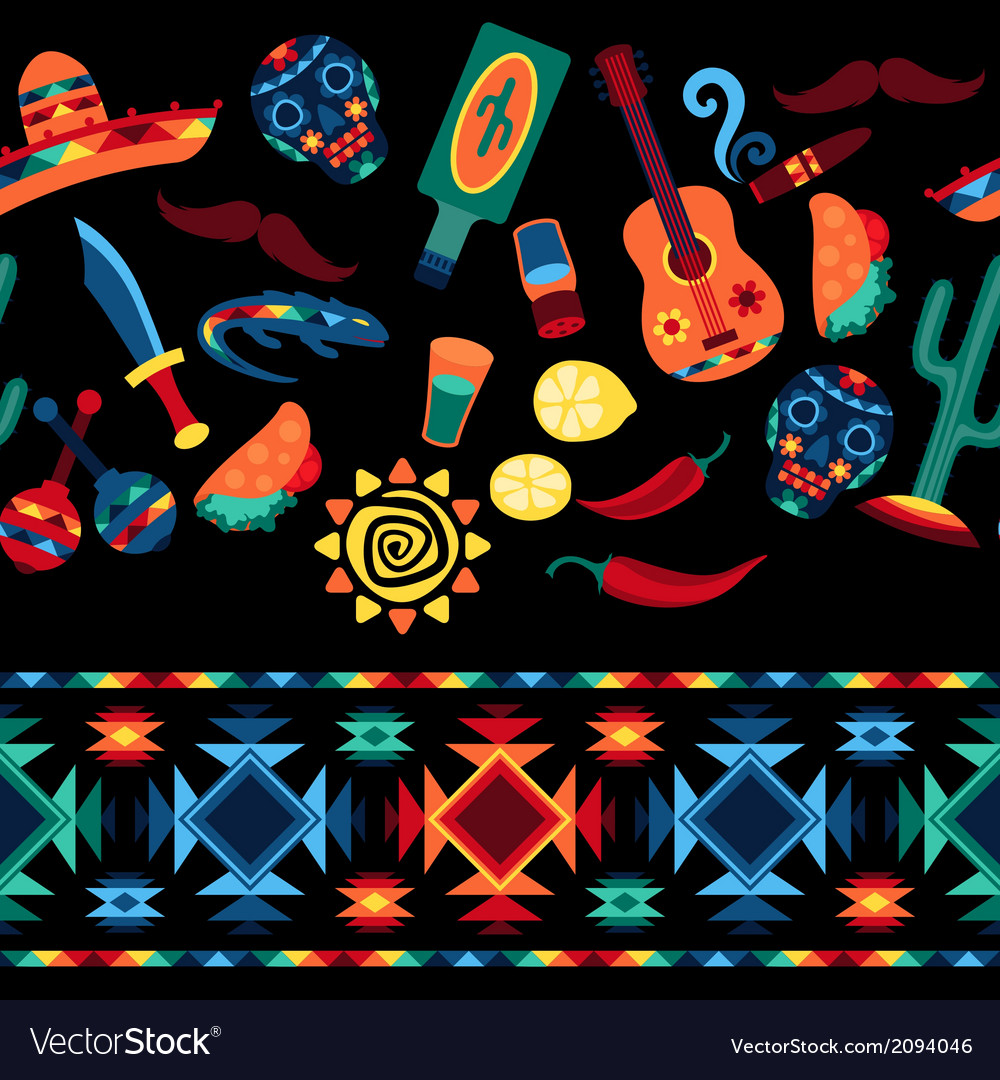 Mexican seamless pattern with icons in native vector | Price: 1 Credit (USD $1)