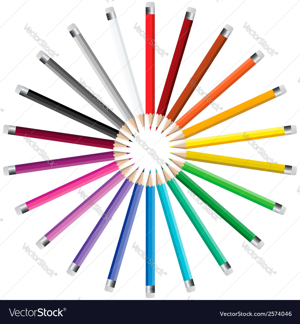 Pencils in a circle vector | Price: 1 Credit (USD $1)
