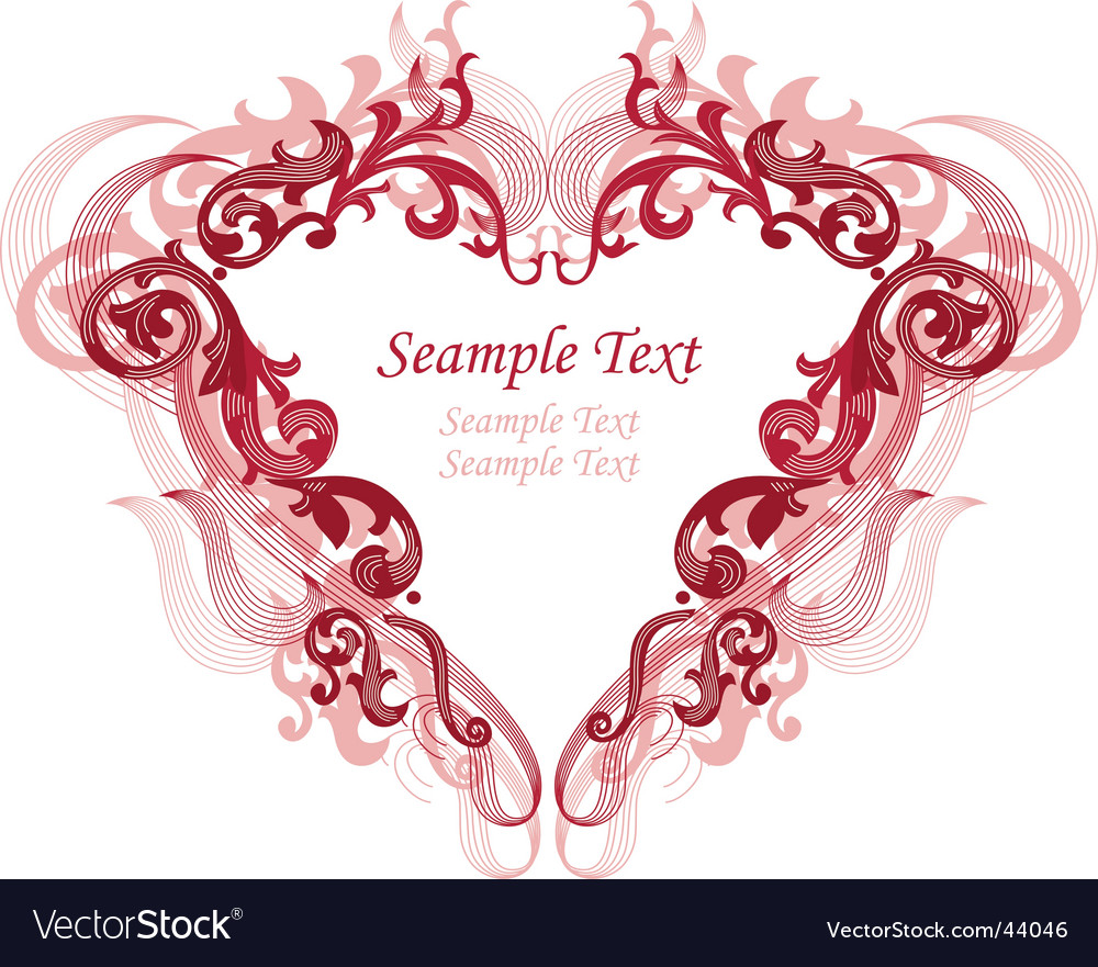 Red heart with filigree ornament vector | Price: 1 Credit (USD $1)