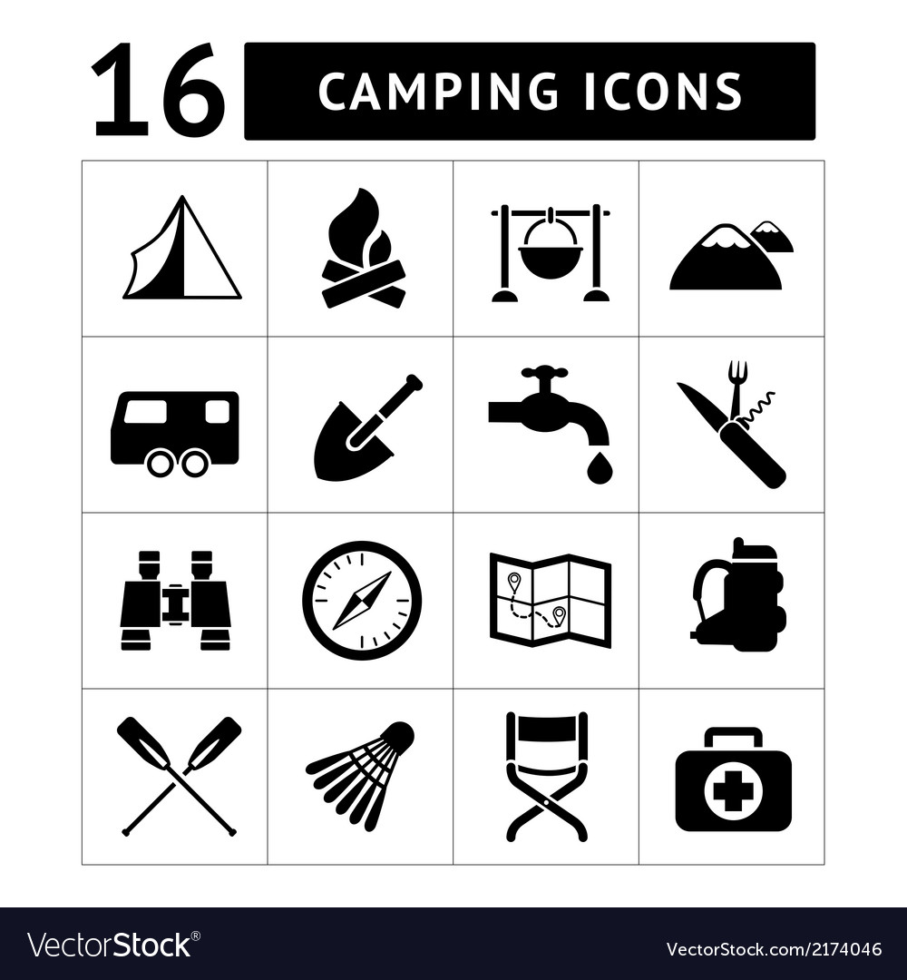 Set icons of camping vector | Price: 1 Credit (USD $1)