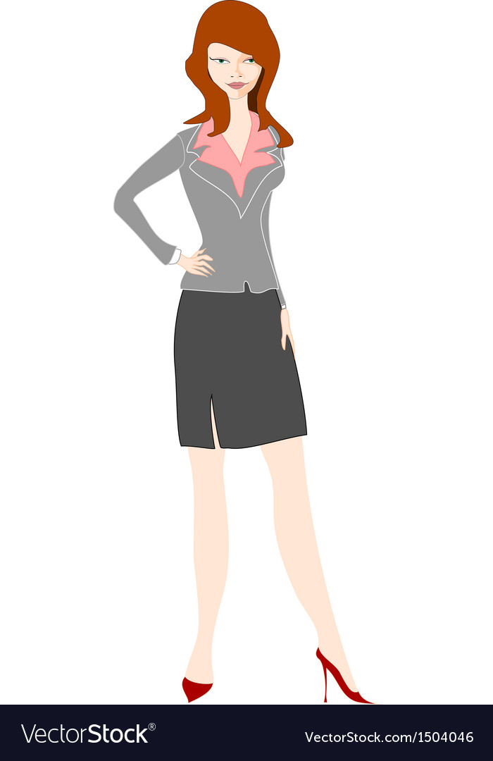 Young businesswoman stands with hands on her hips vector | Price: 1 Credit (USD $1)
