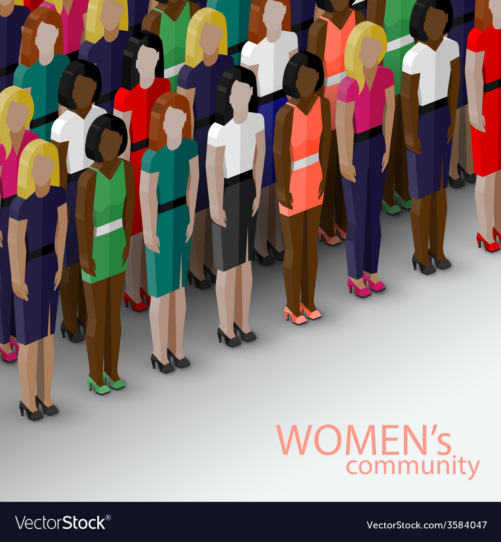3d isometric of women community with a large group vector | Price: 1 Credit (USD $1)