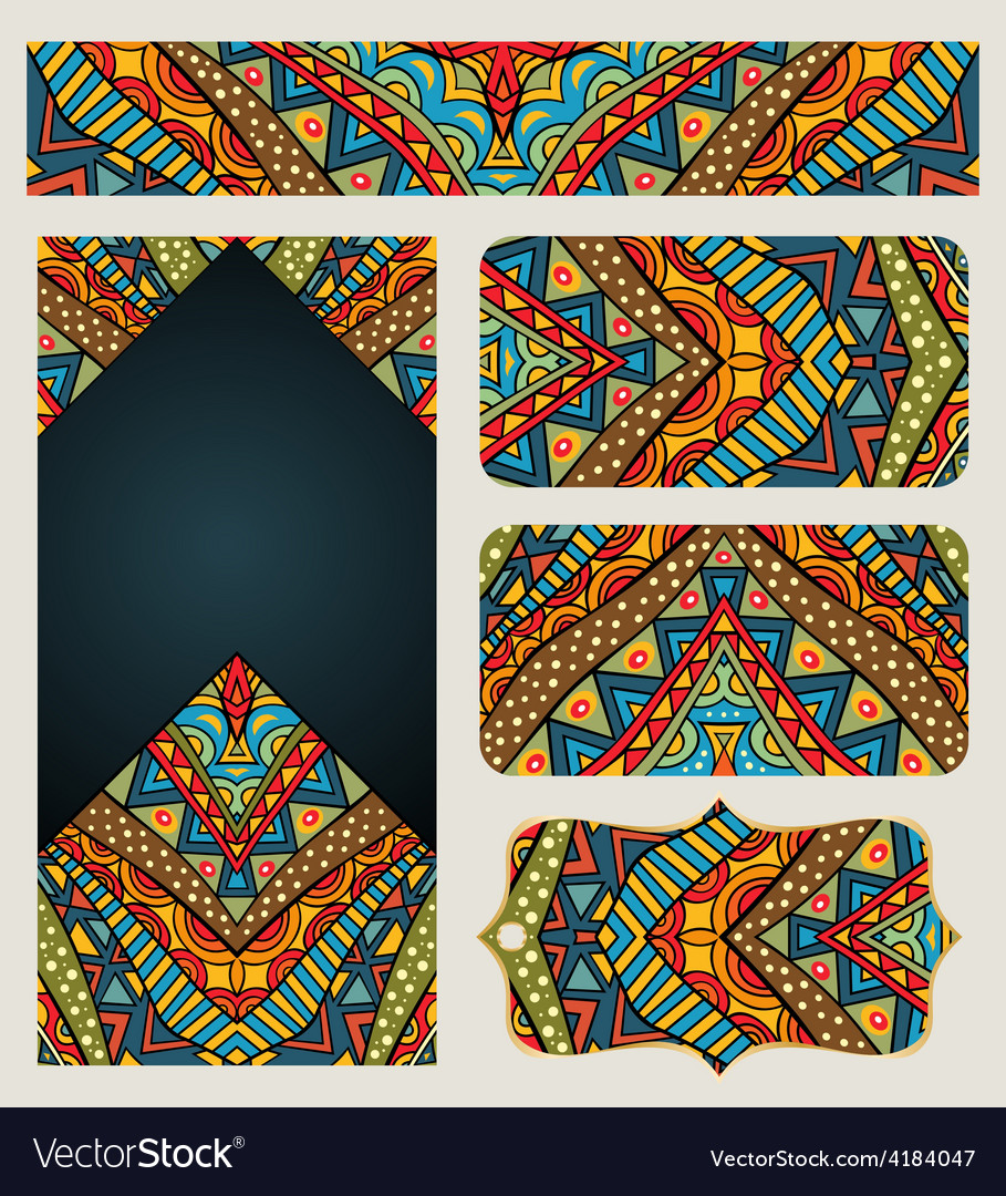Banners set with ethnic pattern vector | Price: 1 Credit (USD $1)