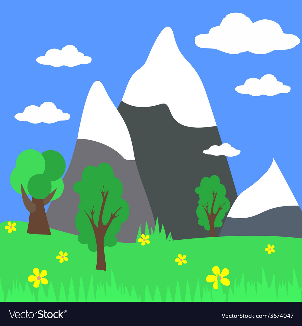 Cartoon landscape with mountains with natur vector | Price: 1 Credit (USD $1)
