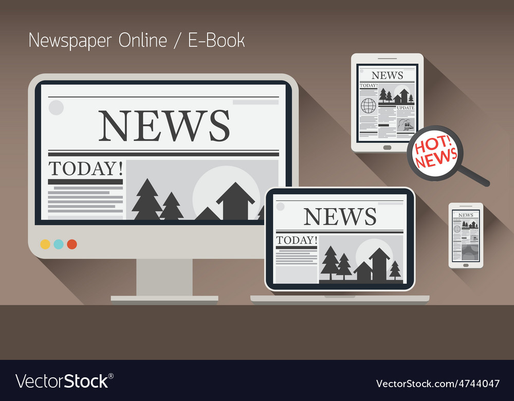 Computer news and newspaper e-book vector | Price: 3 Credit (USD $3)