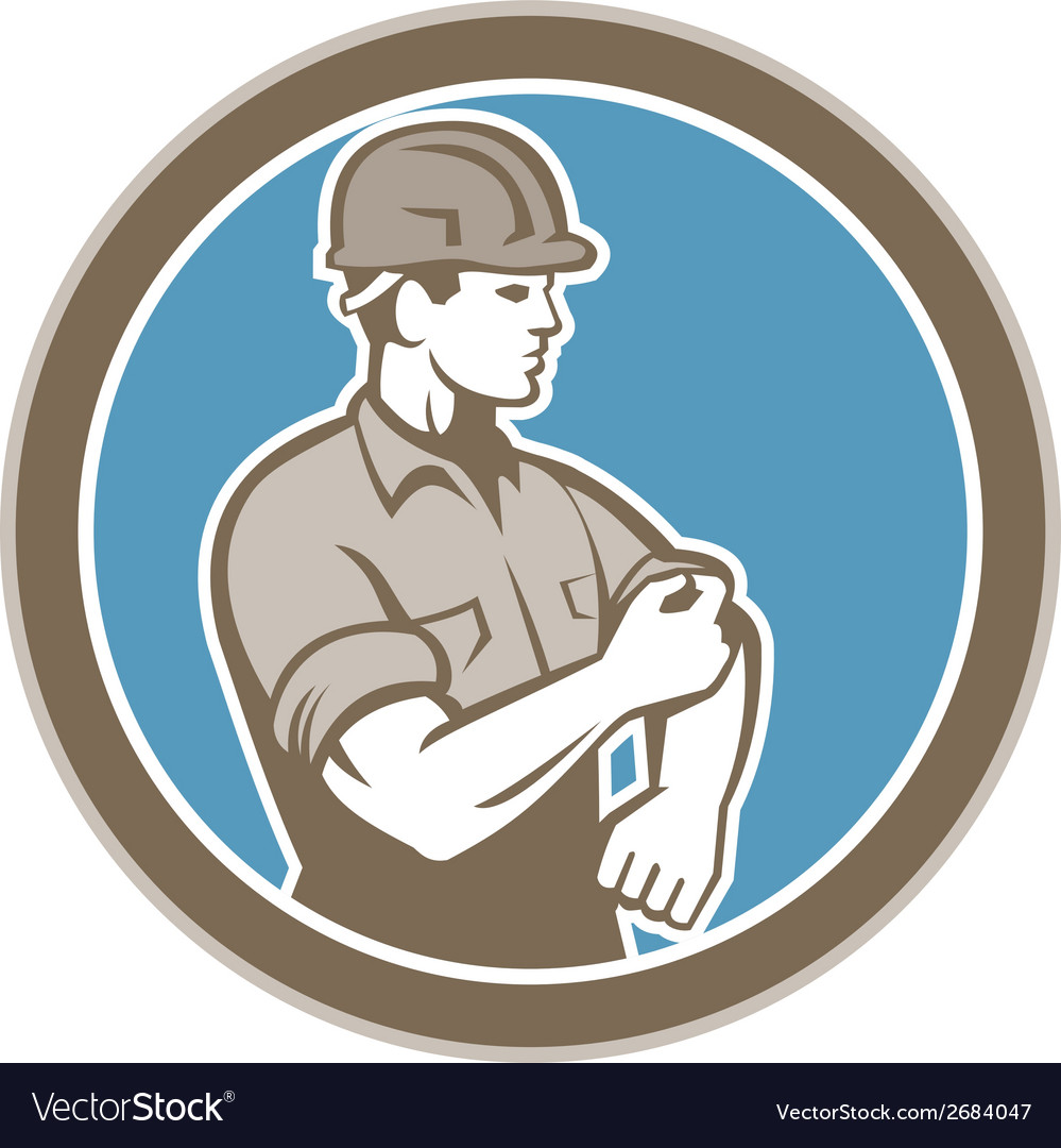 Construction worker rolling up sleeve circle retro vector | Price: 1 Credit (USD $1)