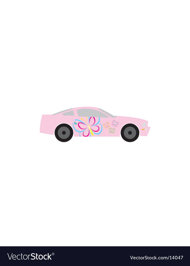 Girly butterfly race car vector | Price: 1 Credit (USD $1)