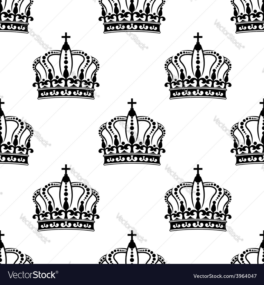 Heraldic seamless pattern with black royal crowns vector   Price: 1 Credit (USD $1)