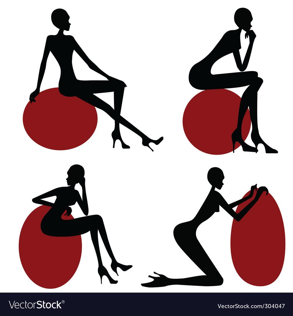 Model women silhouette vector | Price: 1 Credit (USD $1)