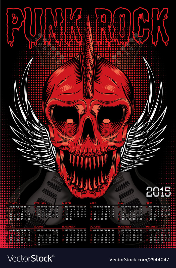 Poster with a red skull and calendar for punk rock vector | Price: 1 Credit (USD $1)