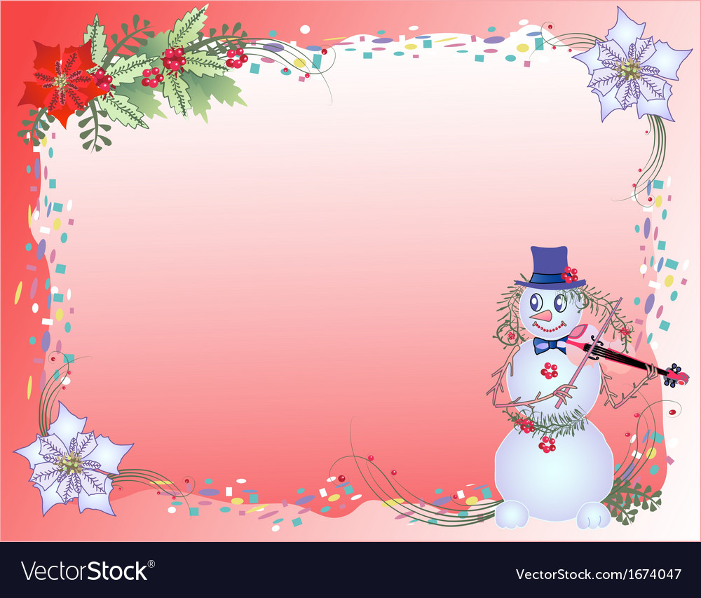 Red christmas background with confetti and snowman vector | Price: 1 Credit (USD $1)