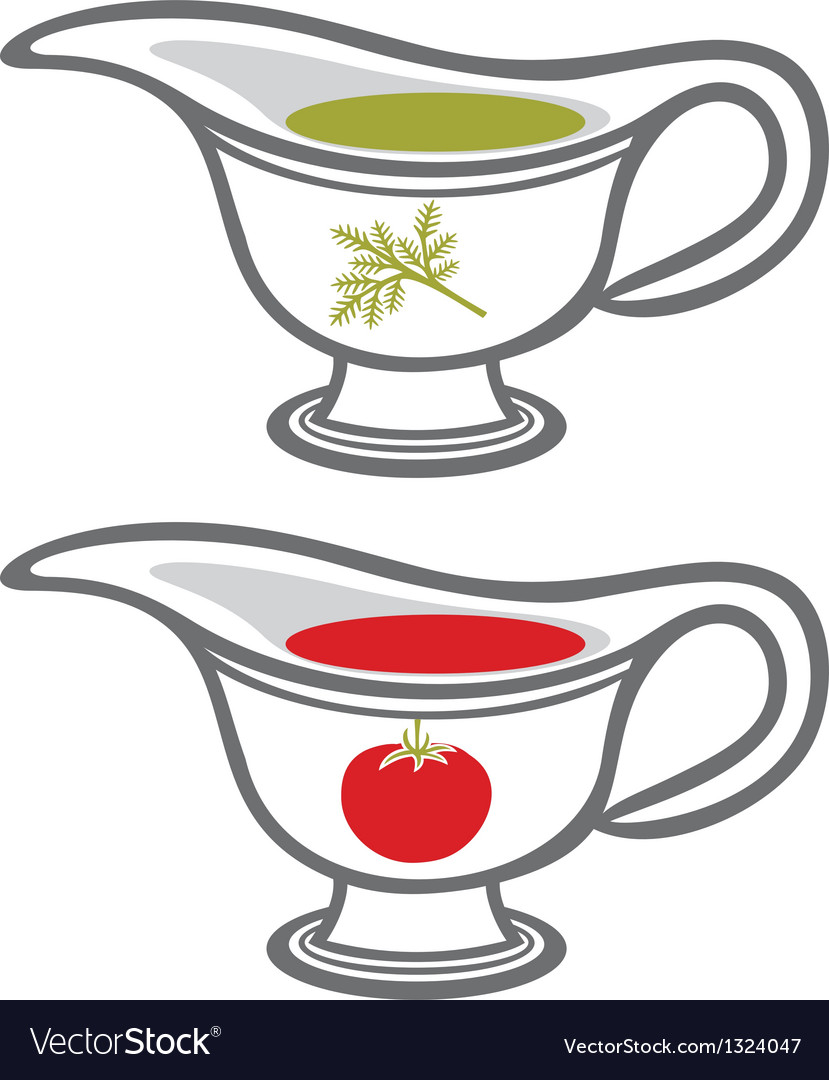 Sauce gravy or sauce boat with cream vector | Price: 1 Credit (USD $1)