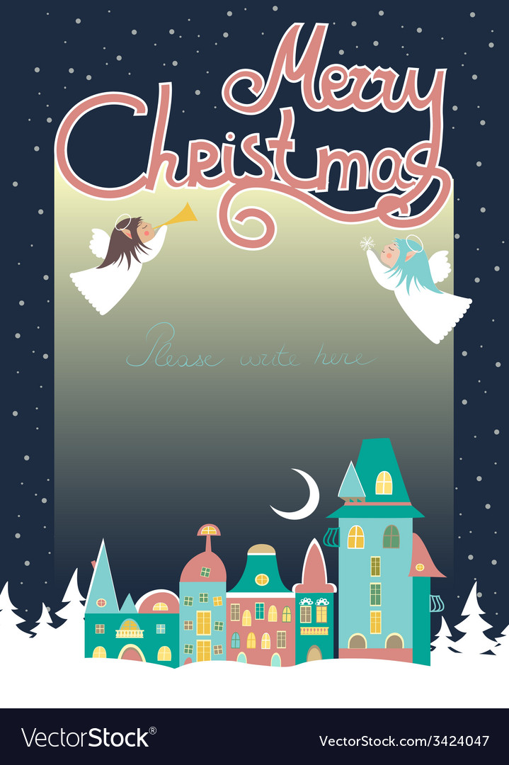 Two angels above cityscape christmas greeting card vector | Price: 1 Credit (USD $1)