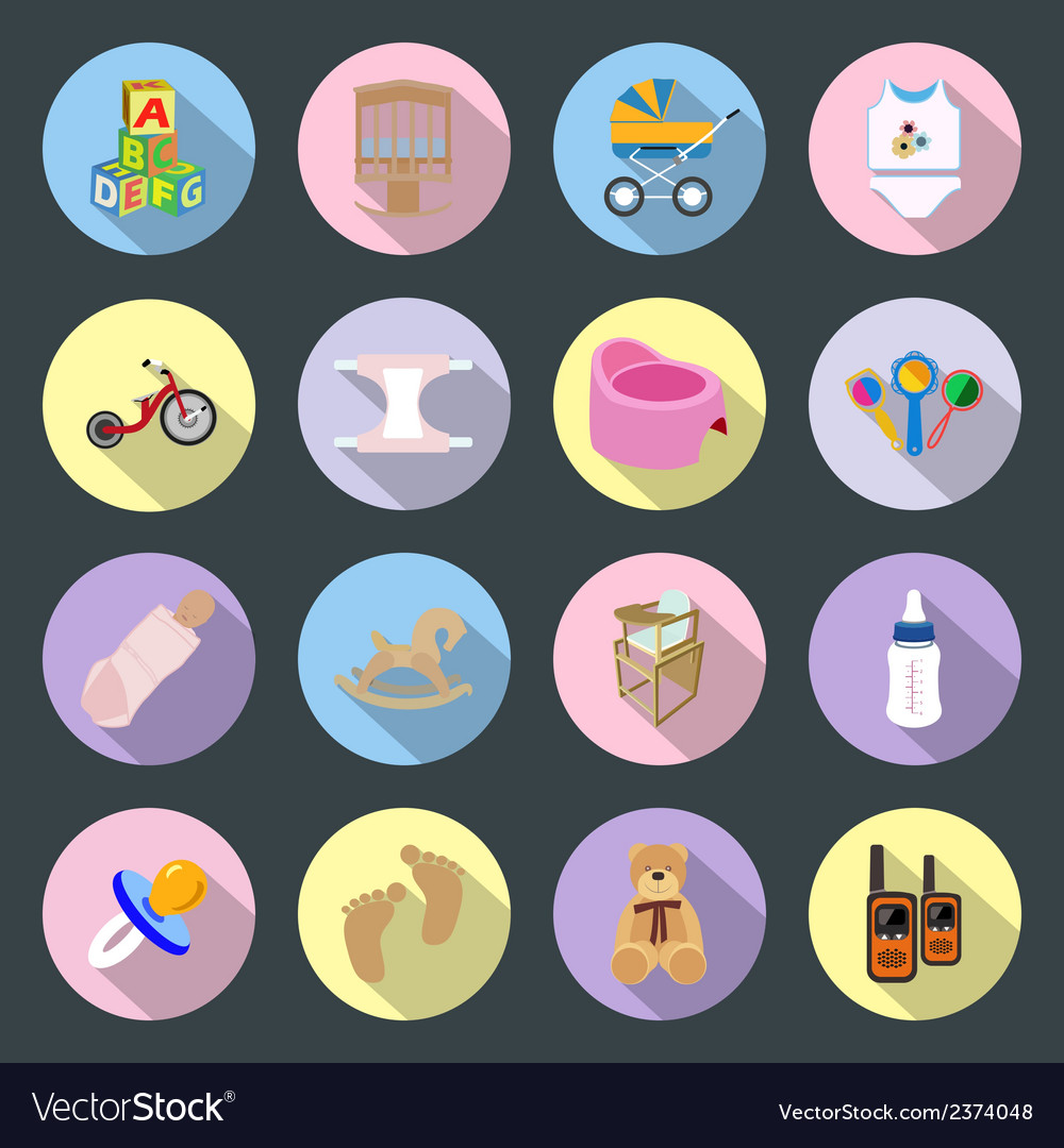 Baby and kids flat icons set vector | Price: 1 Credit (USD $1)