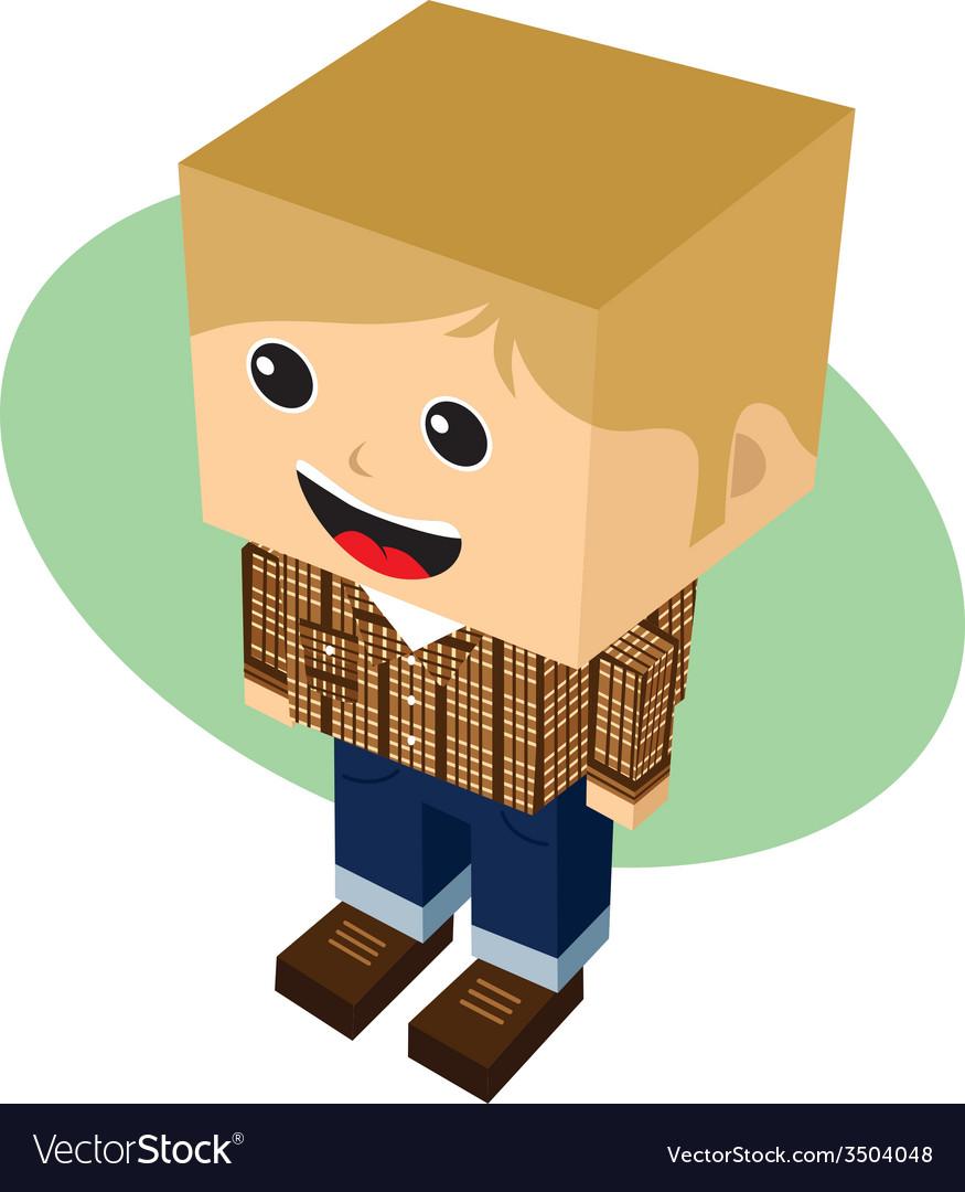 Block isometric cartoon character vector | Price: 1 Credit (USD $1)