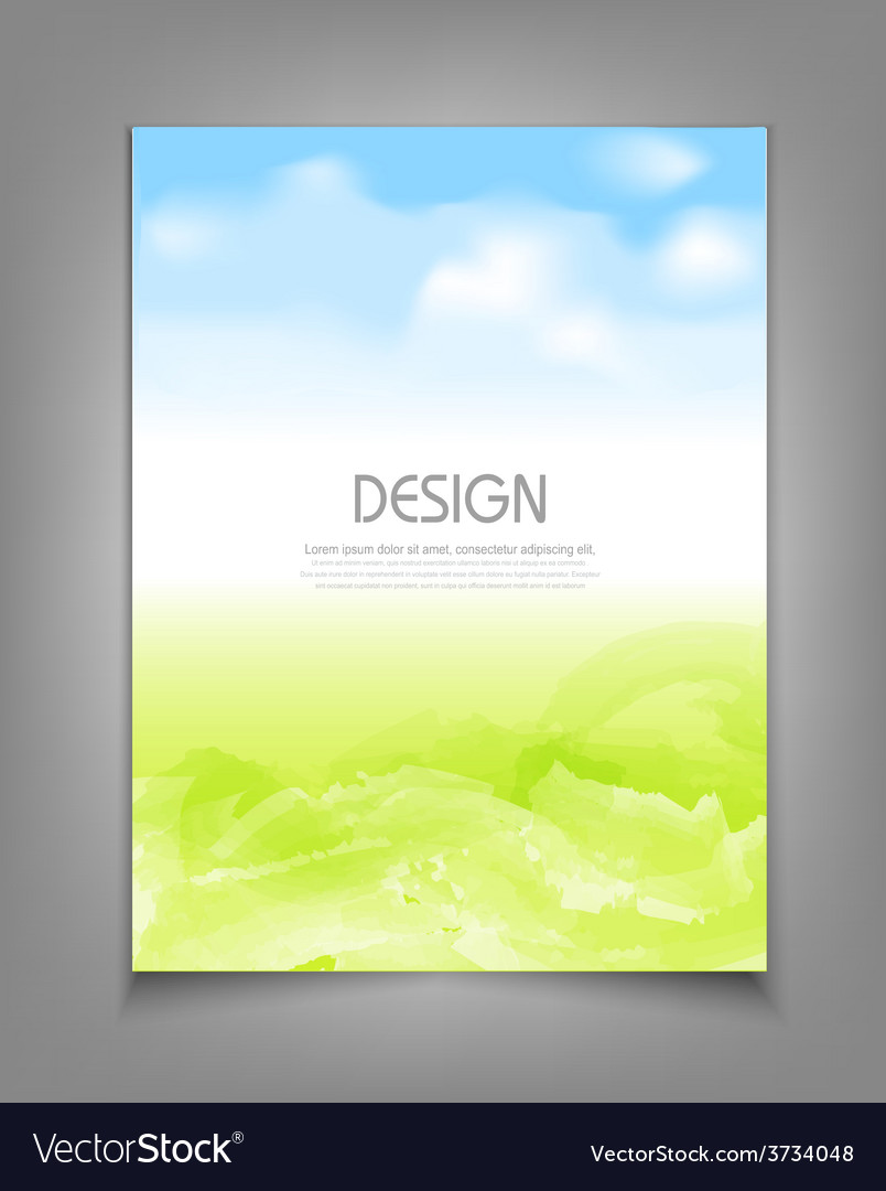 Business template with blue sky and green grass vector | Price: 1 Credit (USD $1)