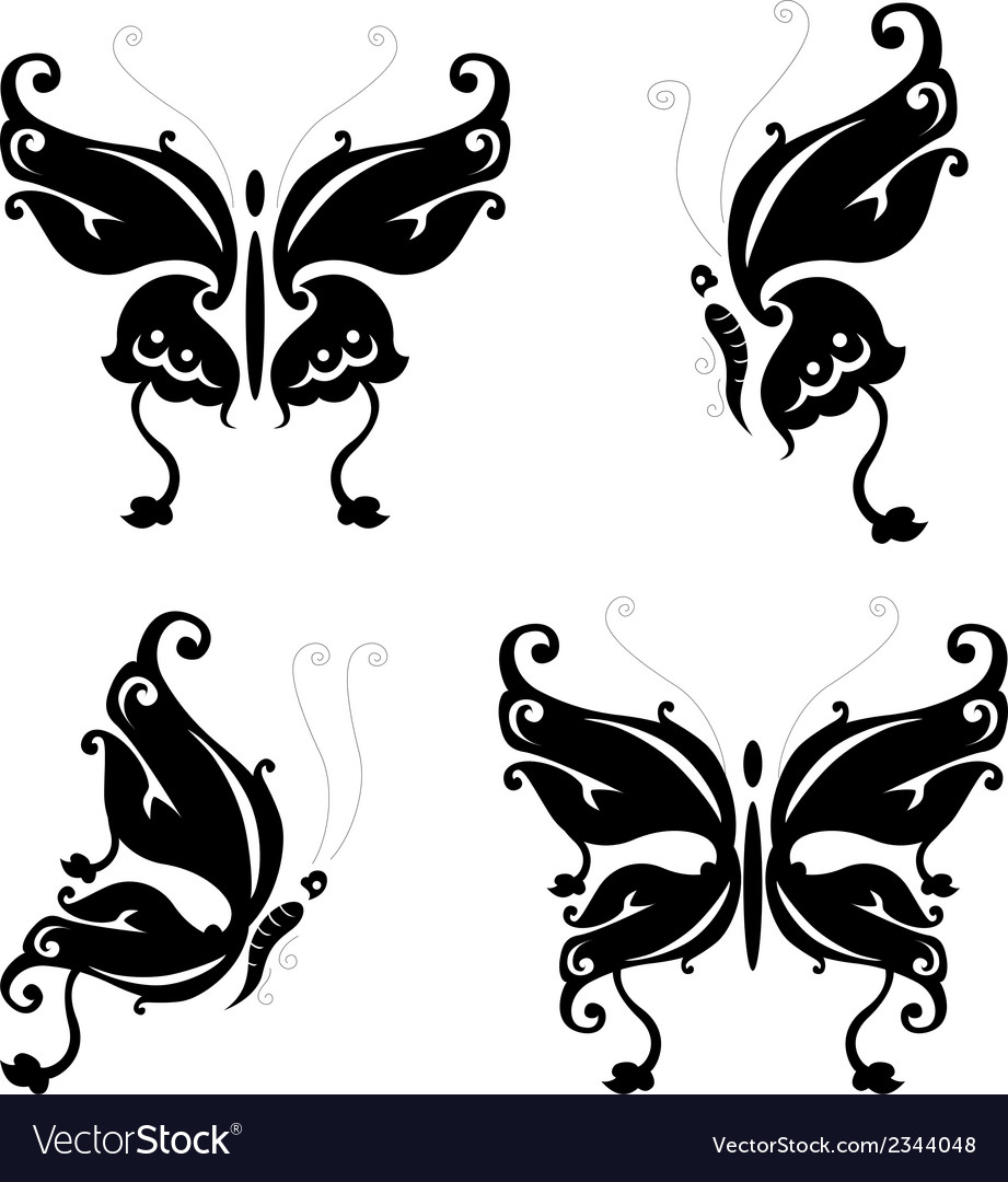 Butterfly silhouette for you design vector | Price: 1 Credit (USD $1)