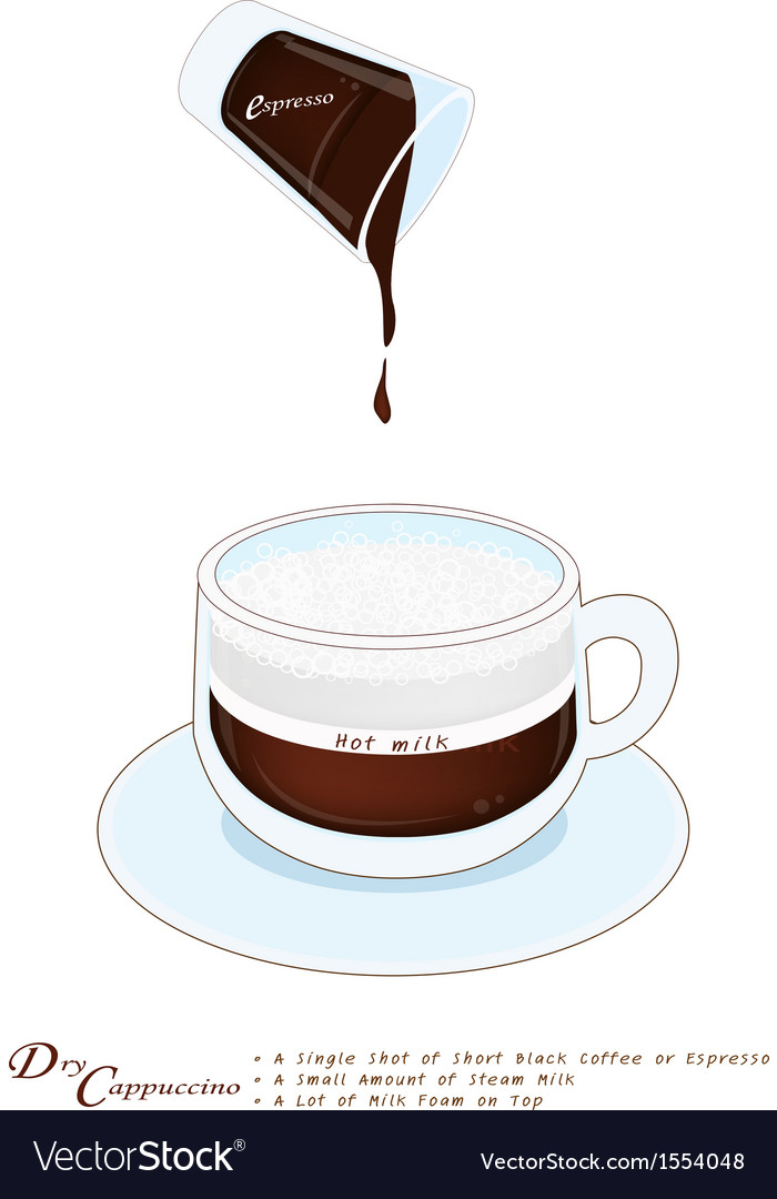 Cappuccino coffee with more milk foam in glass cup vector | Price: 1 Credit (USD $1)