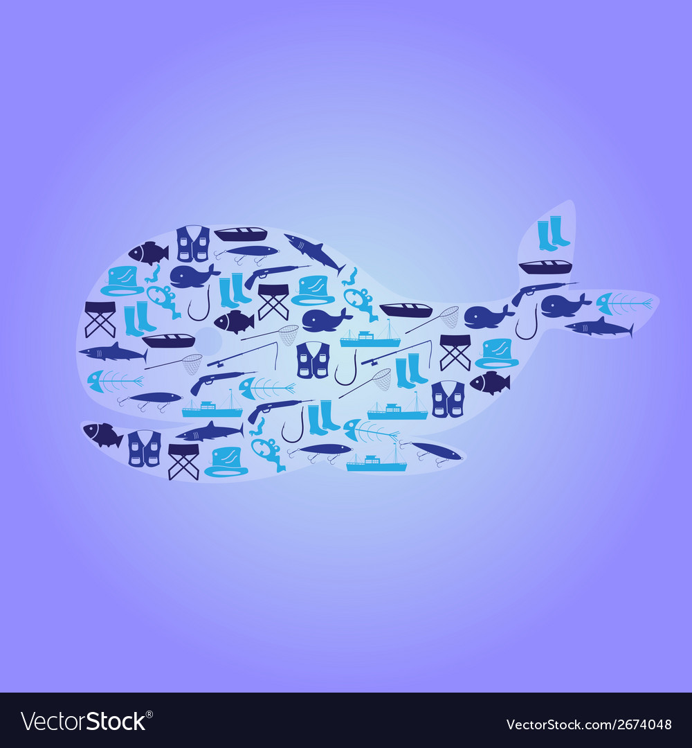Fishing icons whale symbol eps10 vector | Price: 1 Credit (USD $1)