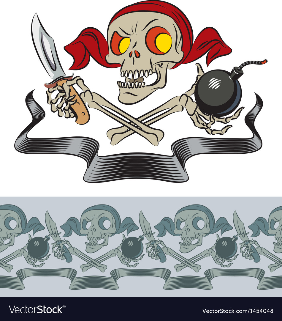Furious skull of pirate vector | Price: 1 Credit (USD $1)