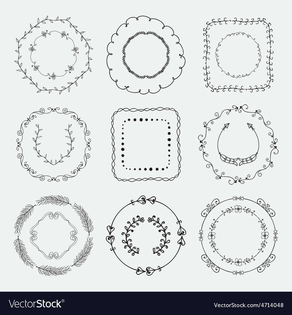 Hand sketched frames borders design vector | Price: 1 Credit (USD $1)