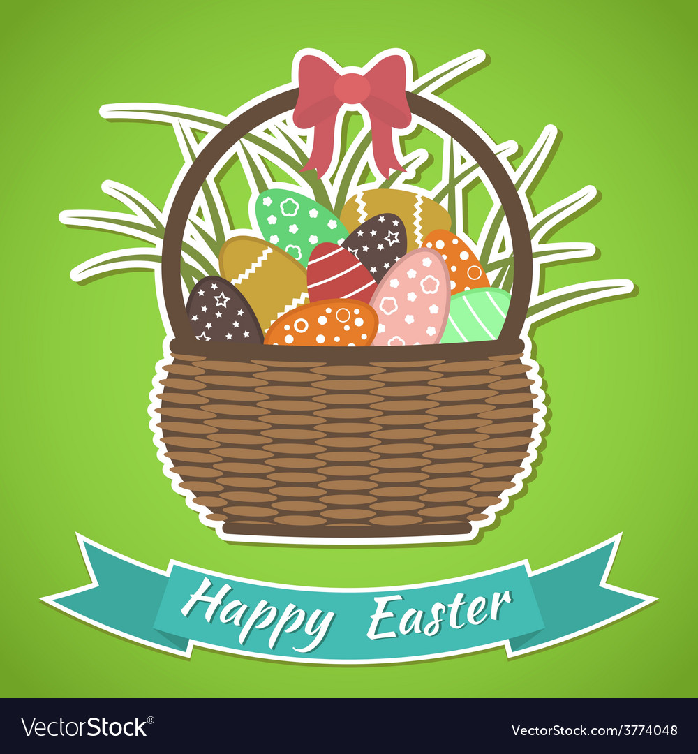 Happy easter card basket with easter eggs vector | Price: 1 Credit (USD $1)