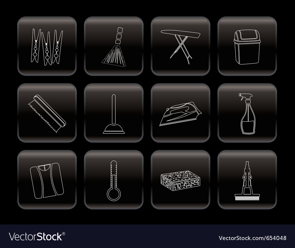 Home objects and tools icons vector | Price: 1 Credit (USD $1)