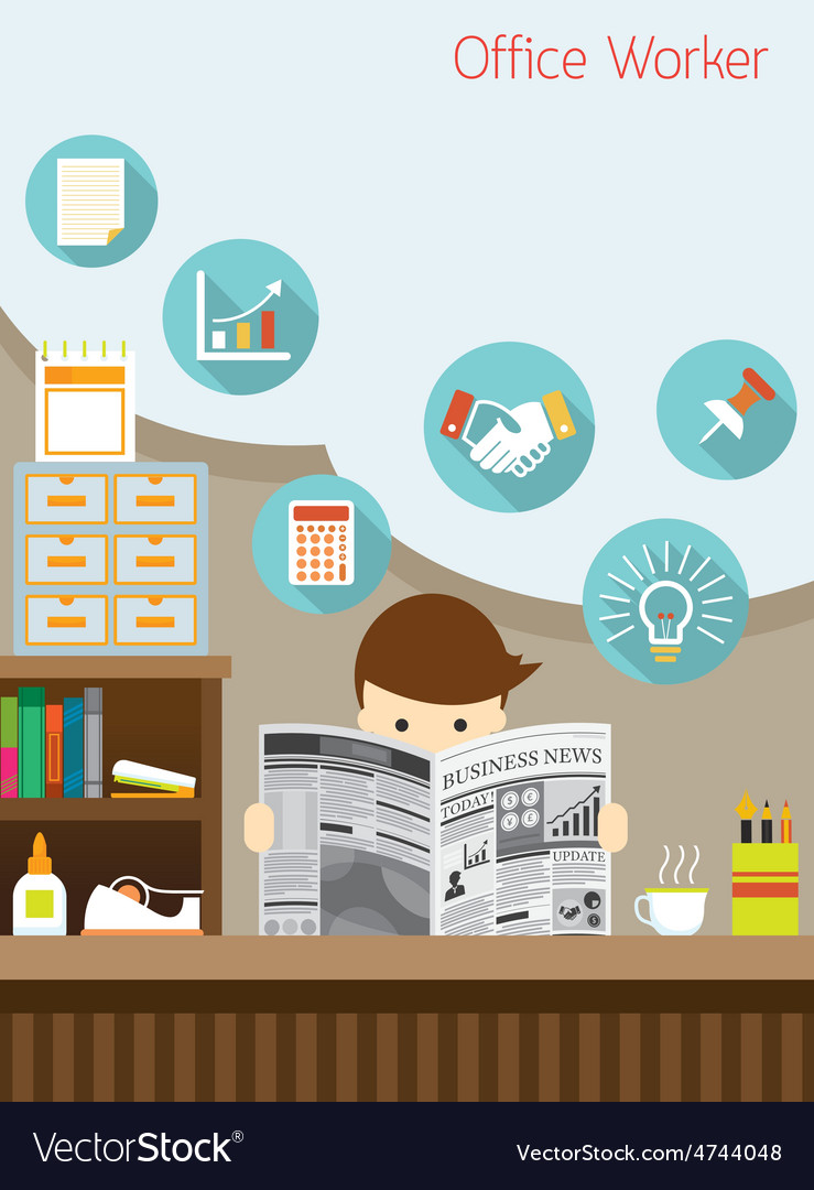 Office worker read business newspaper in office vector   Price: 3 Credit (USD $3)