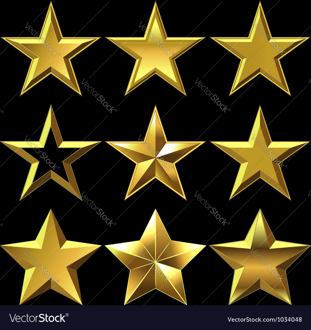 Set of golden shiny stars bulk vector