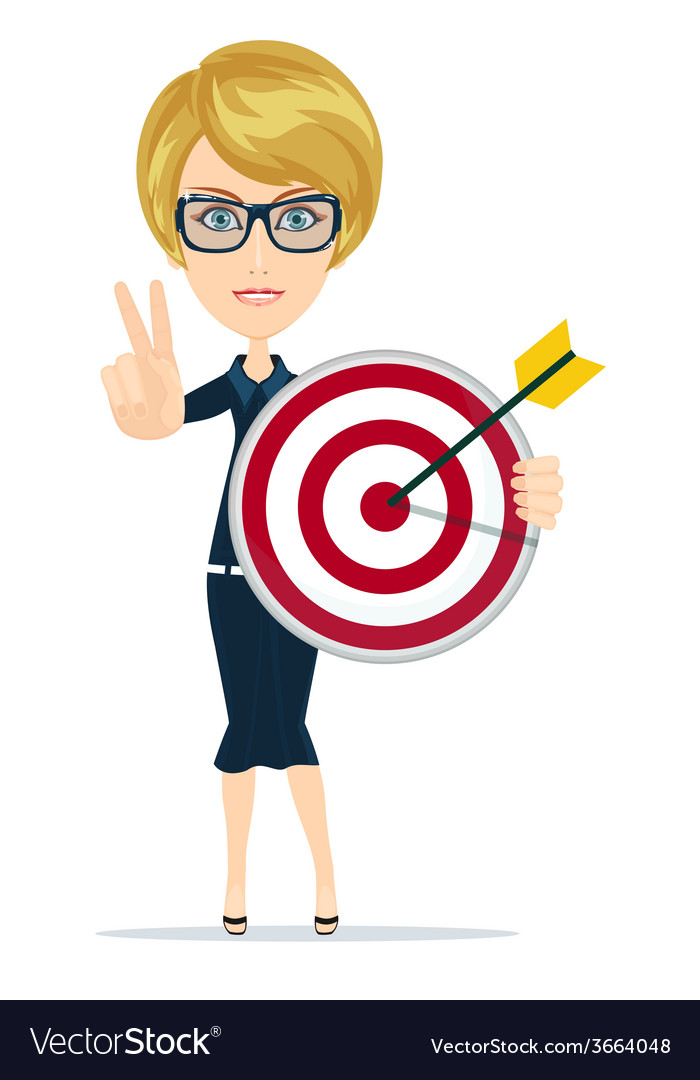 Successful business woman showing victory sign vector | Price: 1 Credit (USD $1)