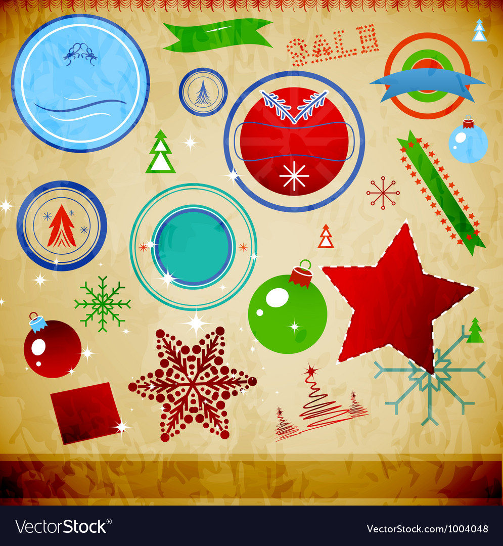 Vintage christmas pack vector | Price: 1 Credit (USD $1)
