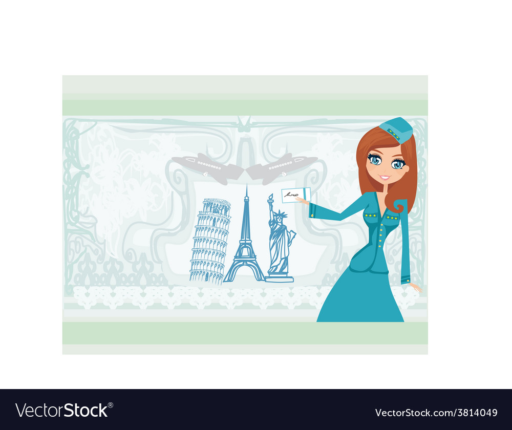 Beautiful stewardess with ticket vector | Price: 1 Credit (USD $1)