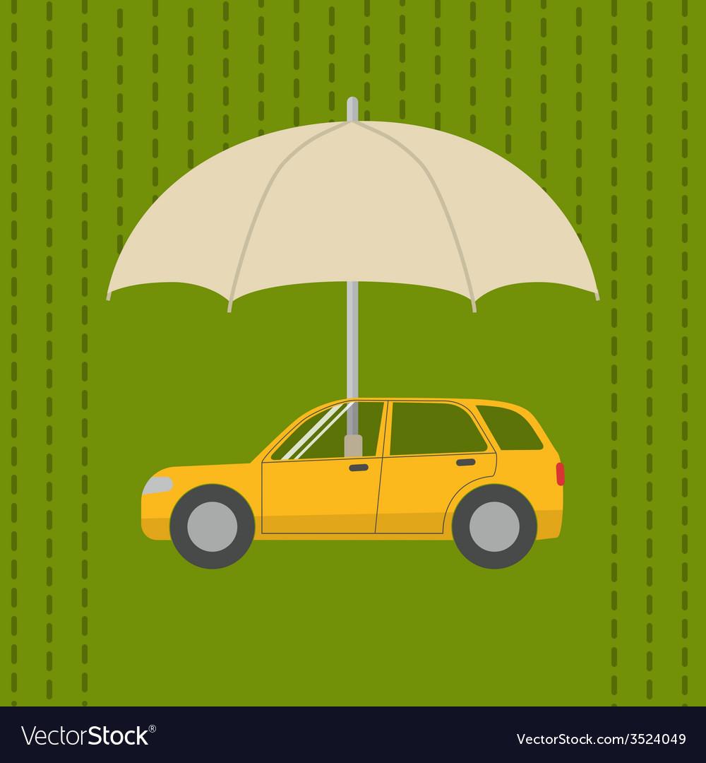 Car under umbrella vector | Price: 1 Credit (USD $1)