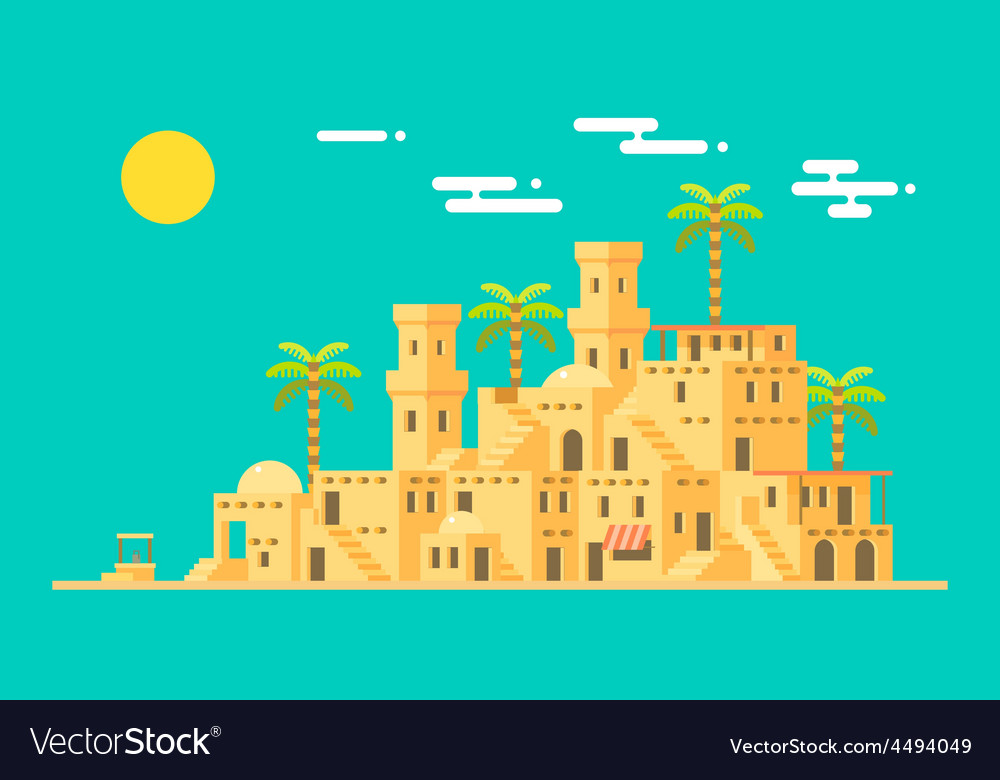 Desert village middle east mud brick town vector | Price: 1 Credit (USD $1)