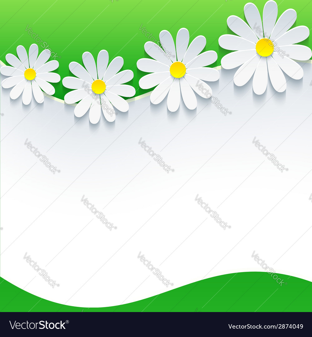 Floral frame with 3d flower chamomile vector | Price: 1 Credit (USD $1)