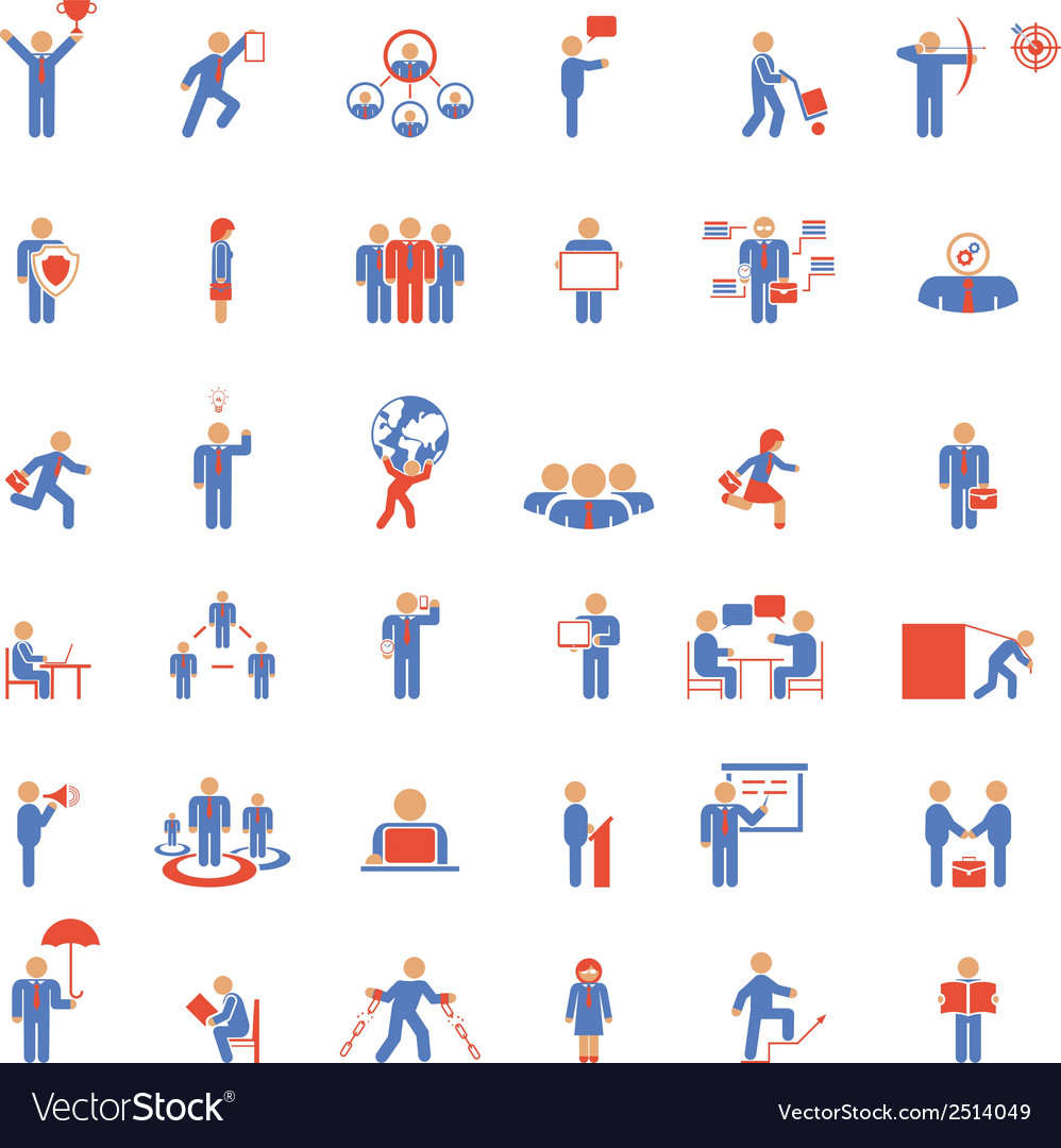 Large set of businessmen icons in different poses vector | Price: 1 Credit (USD $1)