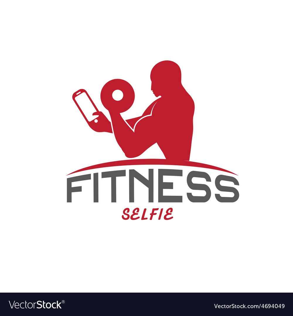 Man of fitness silhouette character make selfie vector | Price: 1 Credit (USD $1)
