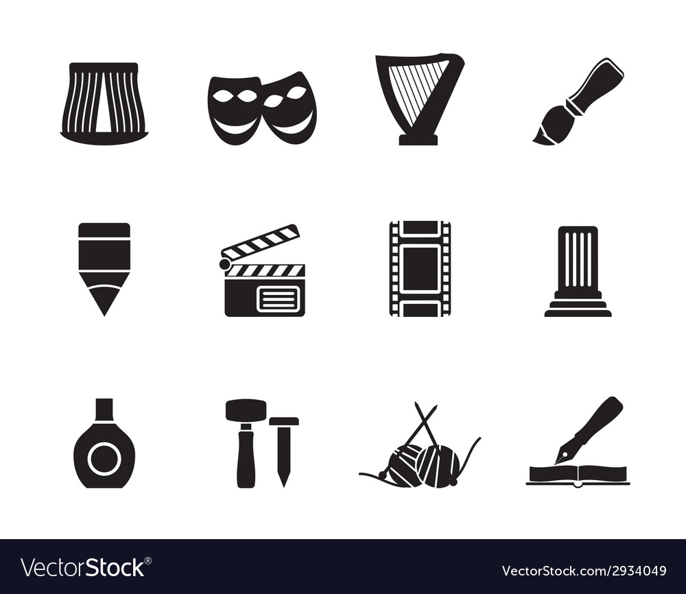 Silhouette different kind of art icons vector | Price: 1 Credit (USD $1)