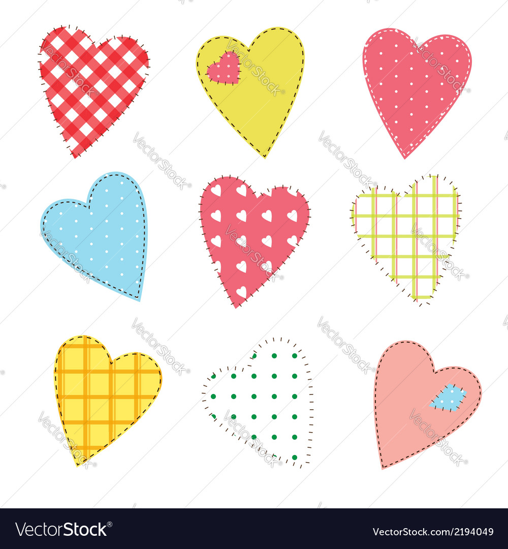 Stitched hearts vector | Price: 1 Credit (USD $1)