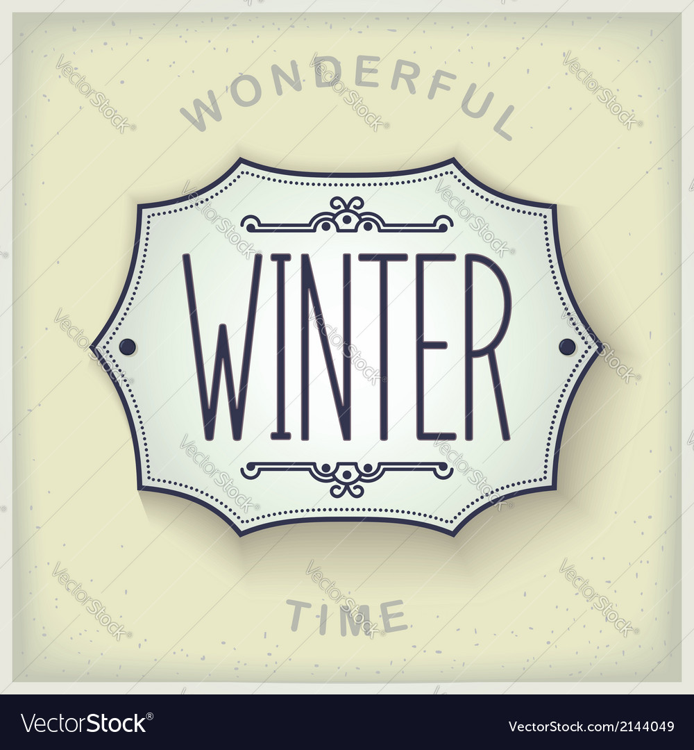 Winter vintage plate vector | Price: 1 Credit (USD $1)