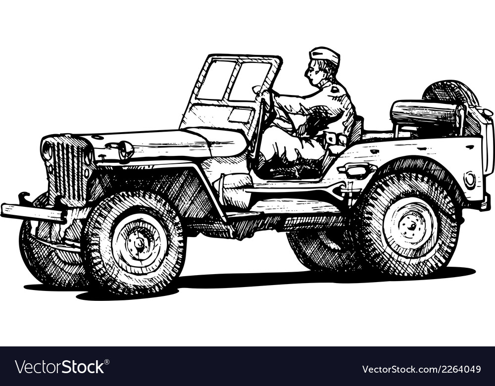 World war two army jeep vector | Price: 1 Credit (USD $1)