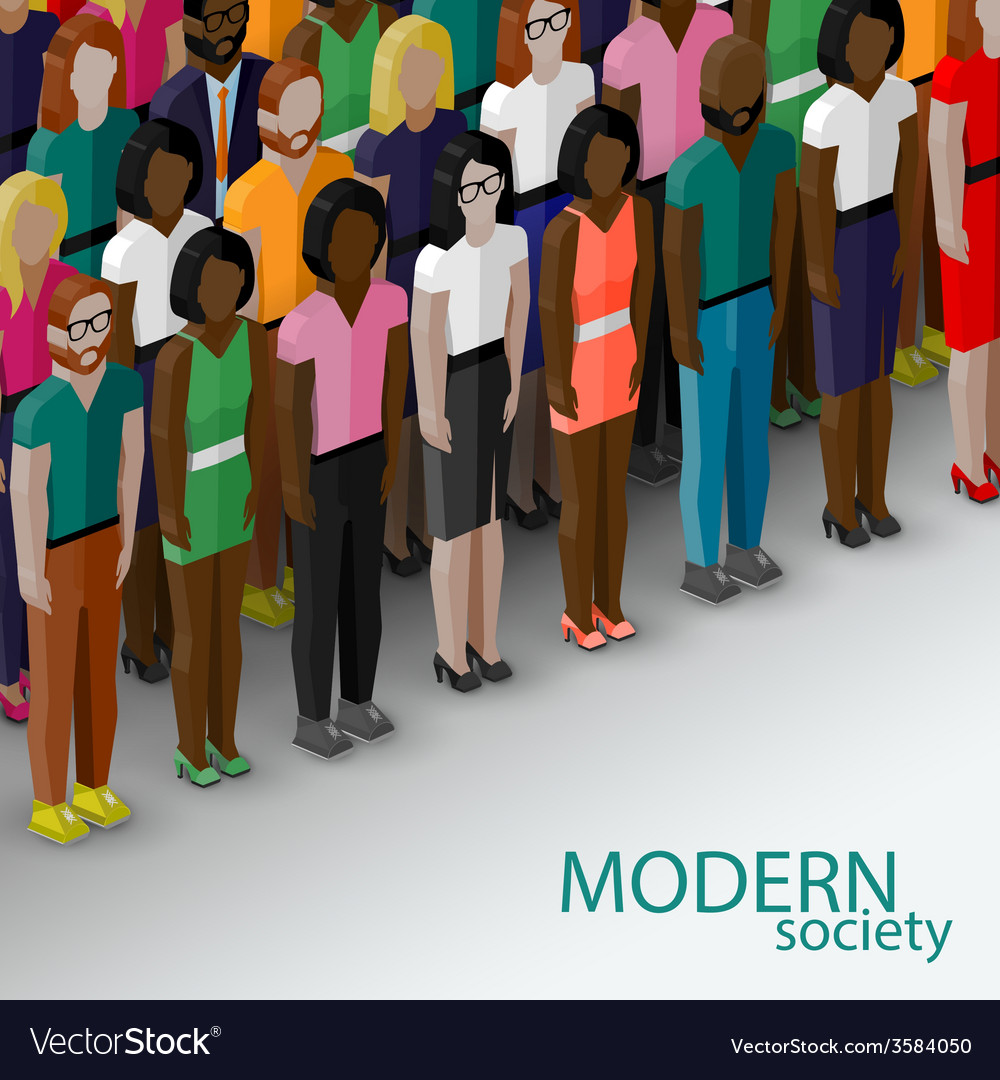 3d isometric of society members with a large group vector | Price: 1 Credit (USD $1)