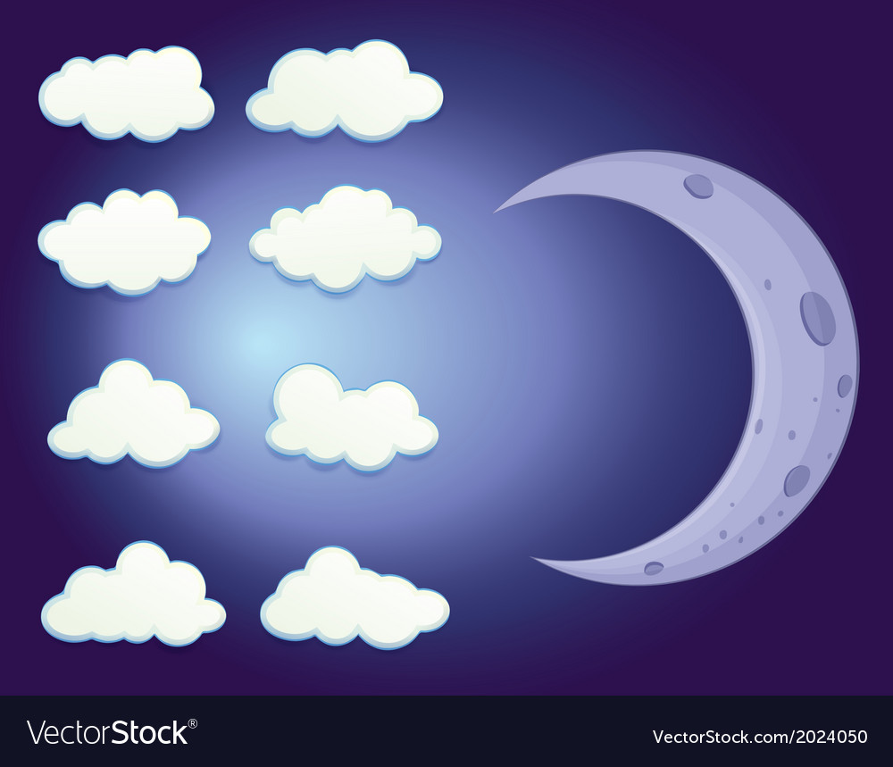 A sky with clouds and a moon vector | Price: 1 Credit (USD $1)