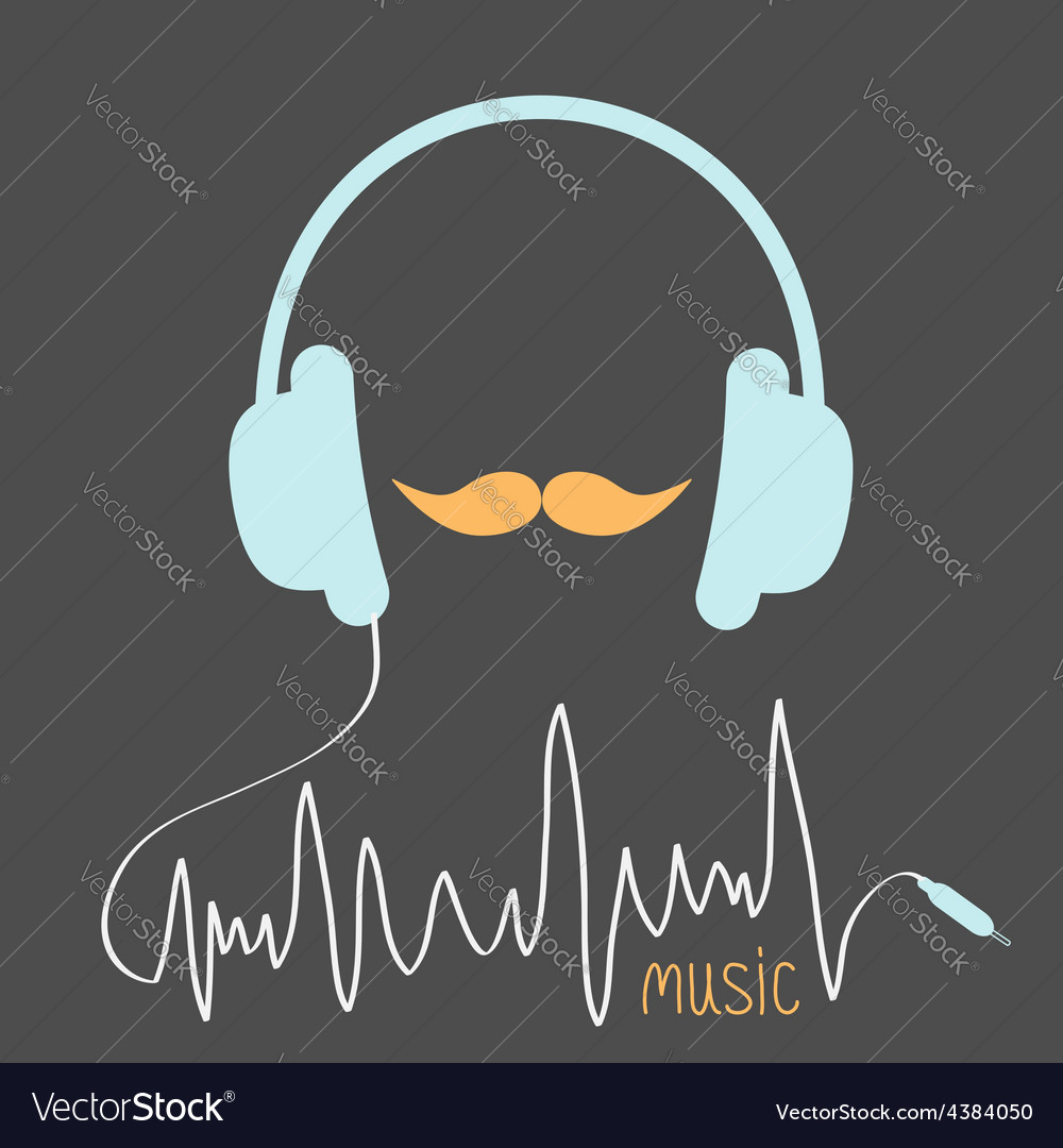 Blue headphones with cord orange moustaches vector | Price: 1 Credit (USD $1)