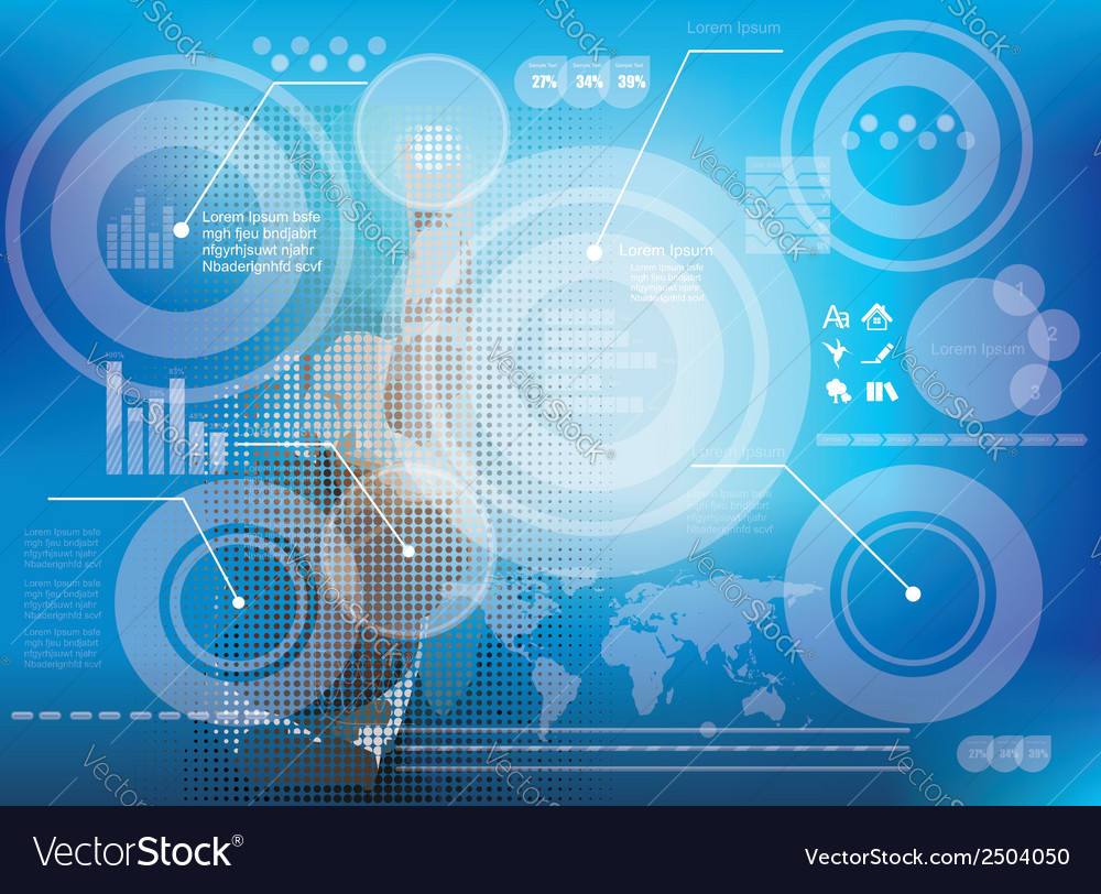 Businessman pressing business diagram vector | Price: 1 Credit (USD $1)