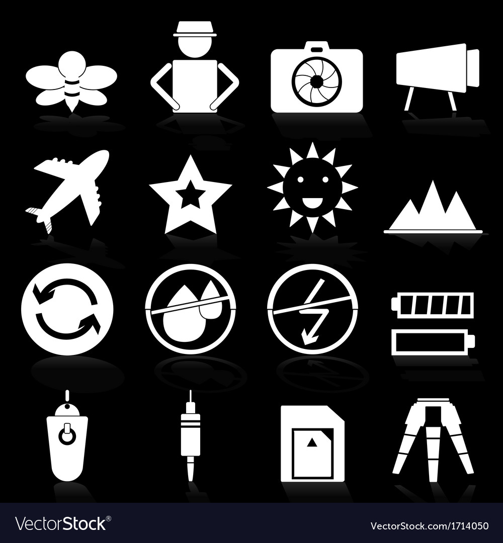 Camera icons with reflect on black background vector | Price: 1 Credit (USD $1)